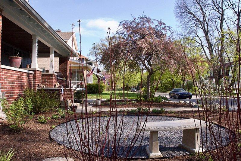 Gravel patio in yard