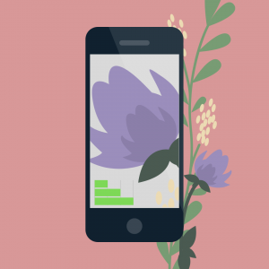 Phone illustration with flower