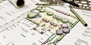 Landscape drawing, landscape design plan