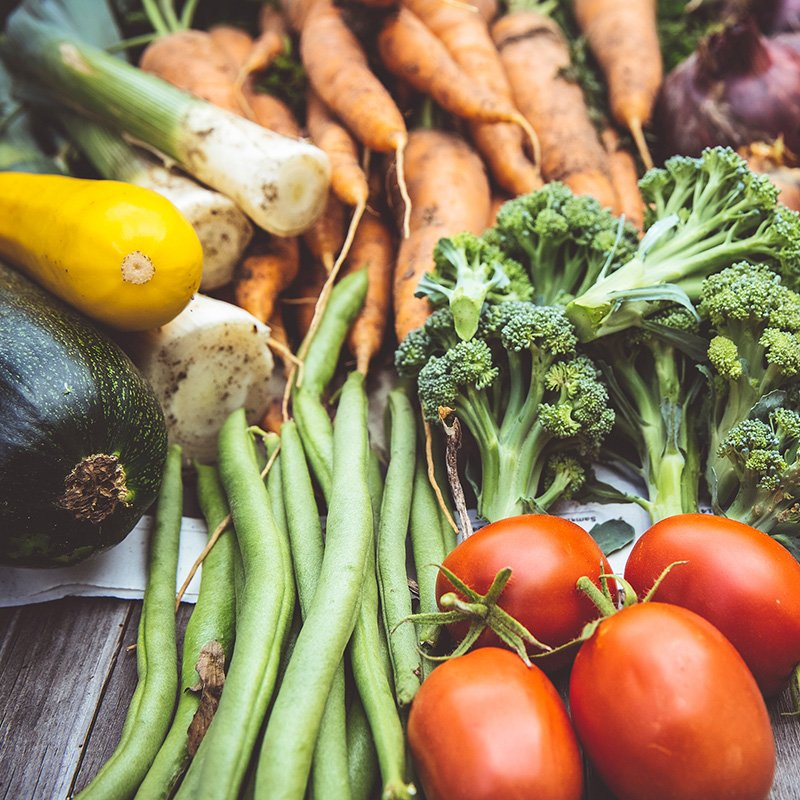 tomatoes, beans, carrots, squash