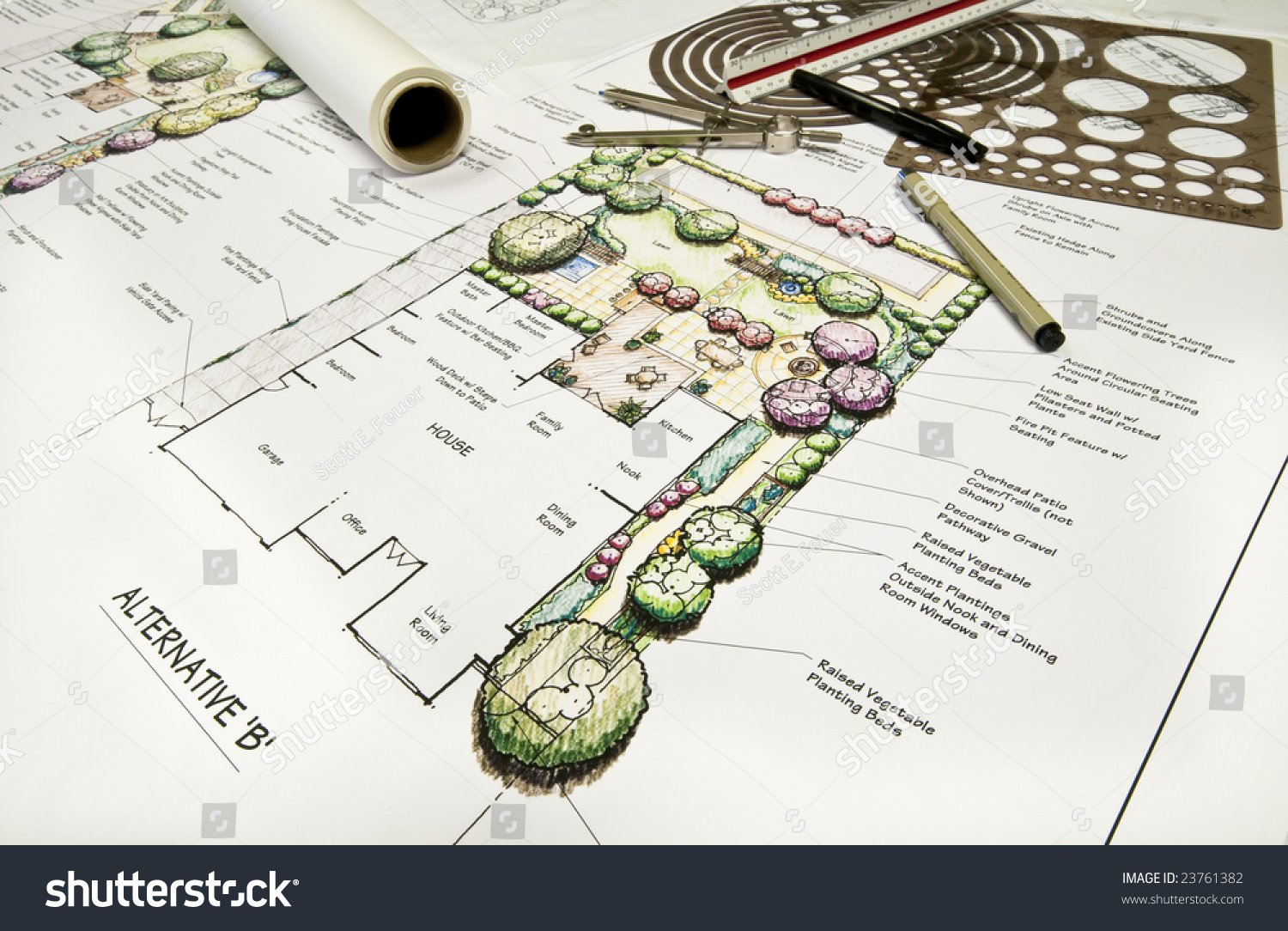 hand drawn residential landscape plan