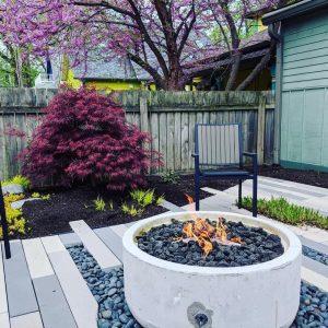stone patio, pavers, paver patio, concrete fire pit